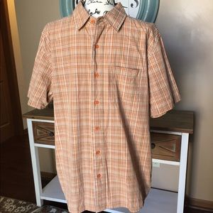 Men's The North Face orange plaid shirt